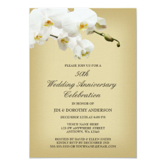 50th Wedding Anniversary Vintage White Orchid Card