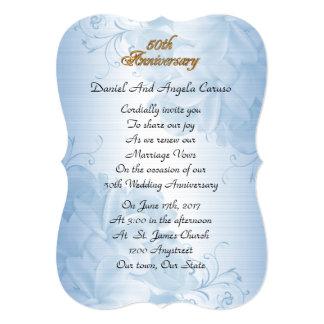 50th Wedding anniversary vow renewal blue satin Card