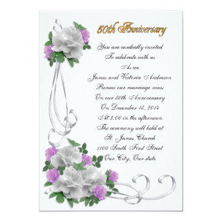 50th Wedding anniversary vow renewal White roses 13 Cm X 18 Cm Invitation Card