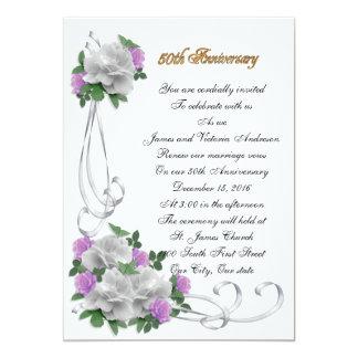 50th Wedding anniversary White roses invitation