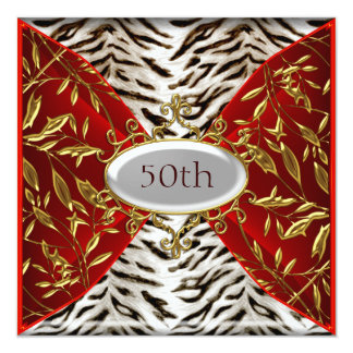 50th White Tiger Red  Birthday Anniversary Card