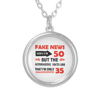 50th year old birthday gifts silver plated necklace