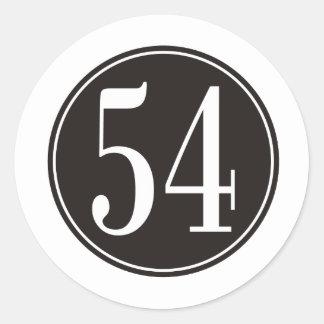 #54 Black Circle Classic Round Sticker