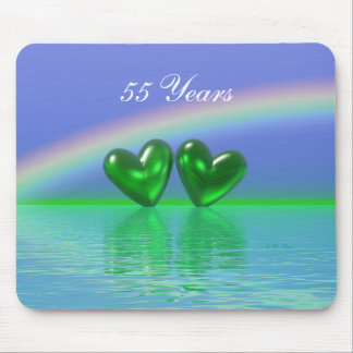 55th Anniversary Emerald Hearts Mouse Pad