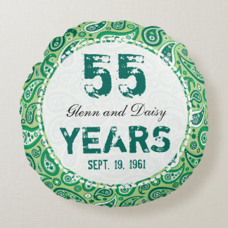55th Emerald Wedding Anniversary Paisley Pattern Round Cushion