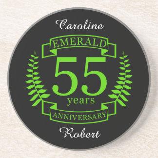 55th Wedding ANNIVERSARY EMERALD Coaster