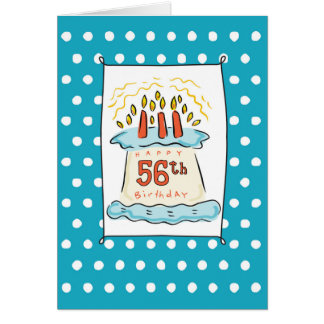 56th Birthday Cake on Blue Teal with Dots Card