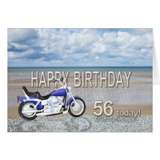 56th birthday card with a motor bike