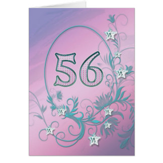 56th Birthday card with diamond stars