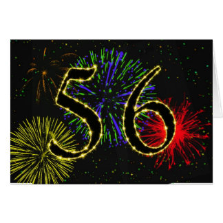 56th Birthday card with fireworks