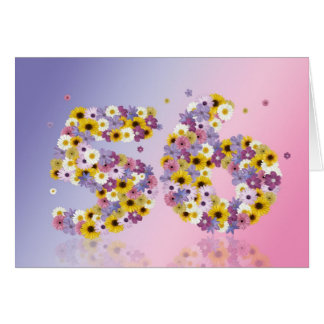 56th birthday card with flowery letters
