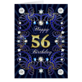 56th birthday card with masses of jewels