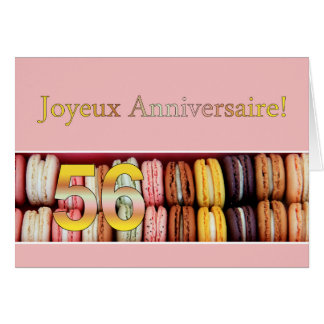 56th French Birthday Macaron-Joyeux Anniversaire! Card