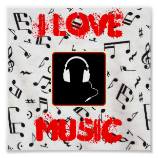 57MusicNotes, headphones1, I LOVE, MUSIC Poster