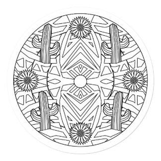 5.25 x 5.25 mandala coloring Saguaro Cactus Desert 13 Cm X 13 Cm Square Invitation Card