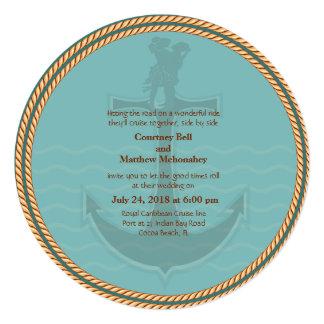 5.25x5.25 Nautical Retro Themed Wedding Invitation