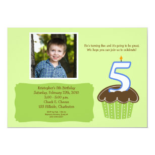 For five year old boy cards invitations zazzle 5 five year old cupcake photo birthday invite stopboris Gallery