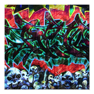 5 Pointz New York Skulls Graffiti 13 Cm X 13 Cm Square Invitation Card