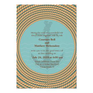 "5"" x 7"" Nautical Retro Themed Wedding Invitation"