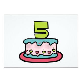 5 Year Old Birthday Cake 13 Cm X 18 Cm Invitation Card