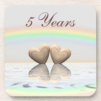 5th Anniversary Wooden Hearts Coaster