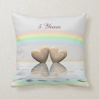 5th Anniversary Wooden Hearts Throw Pillow