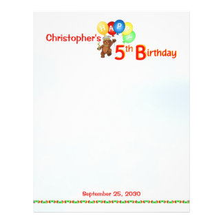 5th Birthday Bears Scrapbook Paper 1 21.5 Cm X 28 Cm Flyer