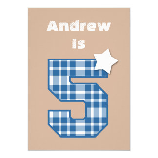 5th Birthday Boy Custom Name BLUE Plaid B05 13 Cm X 18 Cm Invitation Card