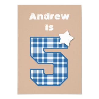 5th Birthday Boy Custom Name BLUE Plaid B05 Card