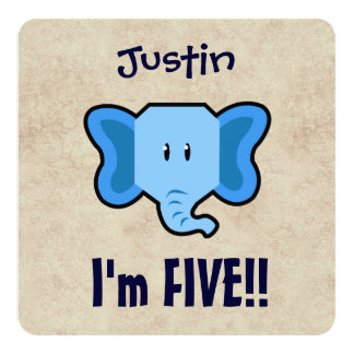 5th Birthday Cute Blue Elephant Face for BOY E05Z 13 Cm X 13 Cm Square Invitation Card
