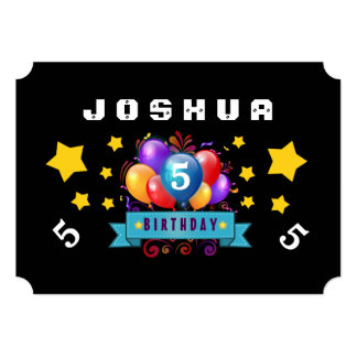 5th Birthday Festive Balloons and Stars B105 13 Cm X 18 Cm Invitation Card