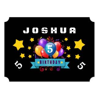 5th Birthday Festive Balloons and Stars B105 Card