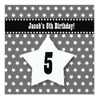 5th Birthday FIVE Year Old Kid Silver Stars V01D 13 Cm X 13 Cm Square Invitation Card