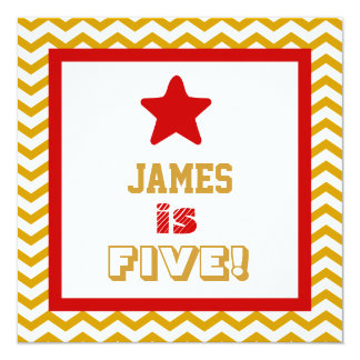 5th Birthday Five Year Old Square Frame 13 Cm X 13 Cm Square Invitation Card