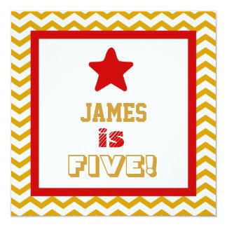 5th Birthday Five Year Old Square Frame 13 Cm X 13 Cm Square Invitation Card