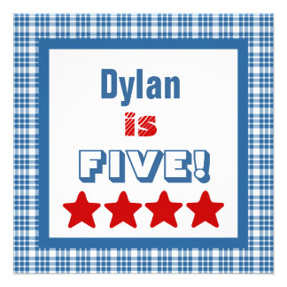 5th Birthday Five Year Old Square Frame Personalized Announcements