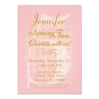 5th Birthday Invitation Girls Pink Gold Hearts