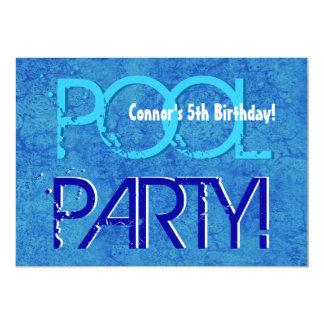 5th Birthday Kid's Pool Party Blue White V05 13 Cm X 18 Cm Invitation Card