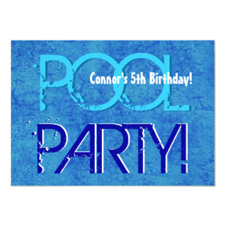 5th Birthday Kid's Pool Party Blue White V05 Card