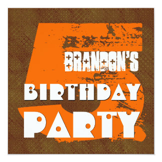 5th Birthday Party 5 Year Old Grunge Design 13 Cm X 13 Cm Square Invitation Card