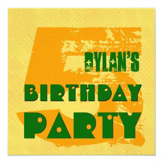 5th Birthday Party 5 Year Old Grunge Design 13 Cm X 13 Cm Square Invitation Card