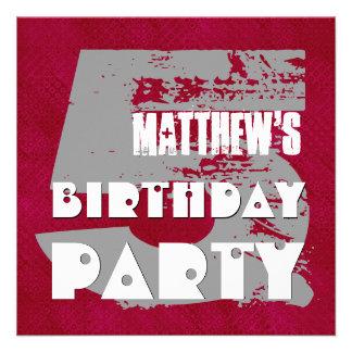 5th Birthday Party 5 Year Old Grunge Design Invite