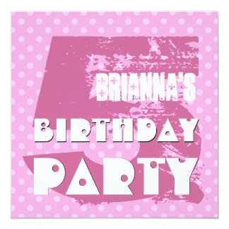 5th Birthday Party 5 Year Old Pink Polka Dots 13 Cm X 13 Cm Square Invitation Card