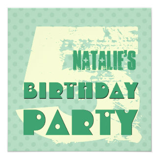 5th Birthday Party 5 Year Old Teal and Cream Polka Card