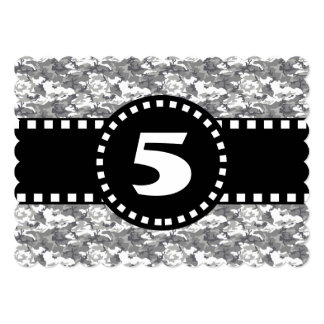 5th Birthday Party Black and White Camo W05B Card