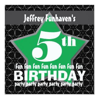5th Birthday Party Black Green White STAR V05A Custom Invitation