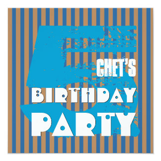 5th Birthday Party Grunge and Stripes Z05P 13 Cm X 13 Cm Square Invitation Card