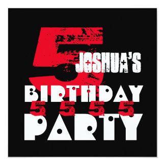 5th Birthday Party Grunge Five Year Old G05Z 13 Cm X 13 Cm Square Invitation Card