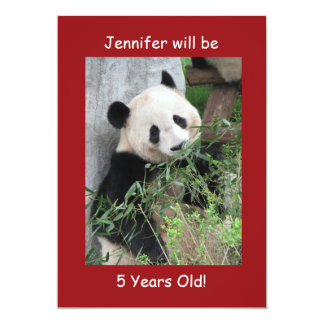 5th Birthday Party Invitation, Two-Sided Panda Red Card