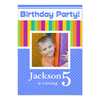 5th Birthday Party Invitations Fun Neon Boy